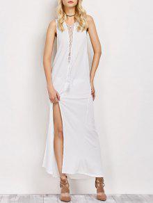 High Slit Lace-Up Maxi Dress - White 2xl