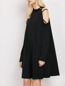 Long Sleeve Loose Cold Shoulder Swing Dress - Black L