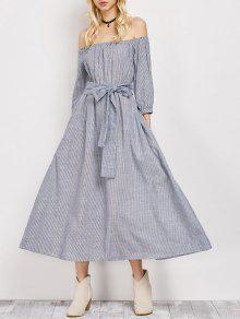 Belted Off The Shoulder Midi Dress - Stripe L