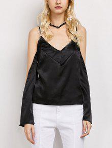 Cold Shoulder Satin Cami Top - Black L