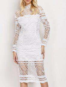 فستان المخرمات  بالطرازالهندسي و الكم الطويل  - أبيض S