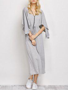 V Neck Drawstring Loose Maxi Dress - Light Gray L