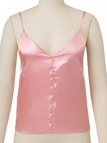e6926015ee6f62 20% OFF] 2019 Buttoned Satin Cami Top In DEEP PINK | ZAFUL
