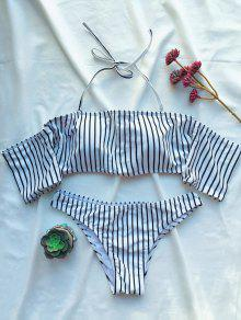 Off The Shoulder Strappy Striped Bikini Set - White S