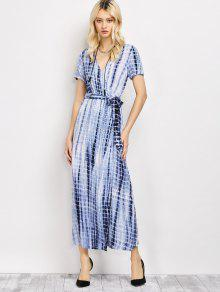 2019 Tie-Dyed Short Sleeve Surplice Maxi Dress In DEEP BLUE 2XL | ZAFUL