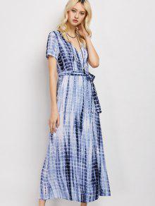 Tie-Dyed Short Sleeve Surplice Maxi Dress - Deep Blue L