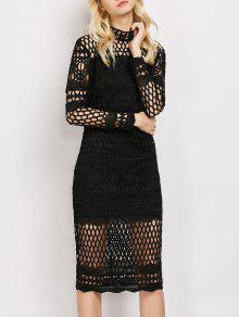 Long Sleeve Geometric Lace Dress - Black L
