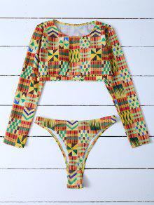 Cropped High Cut Rashguard Bikini Set - Multicolor M