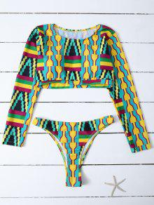 Cropped High Cut Rashguard Bikini Set - Multicolor M