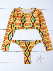Printed Long Sleeve Bathing Suit - Multicolor S