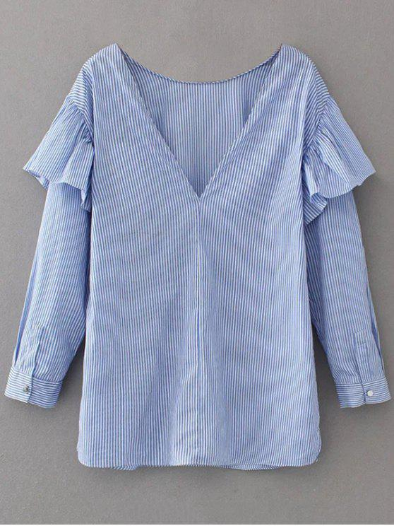 fancy V Neck Ruffle Striped Pullover Shirt - BLUE S