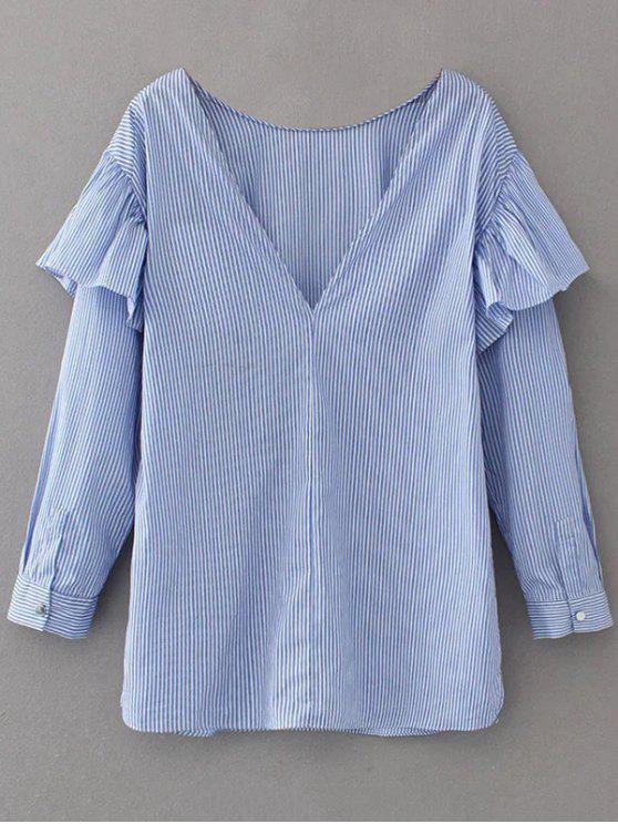 V Neck Ruffle Striped Pullover Shirt - Bleu XS