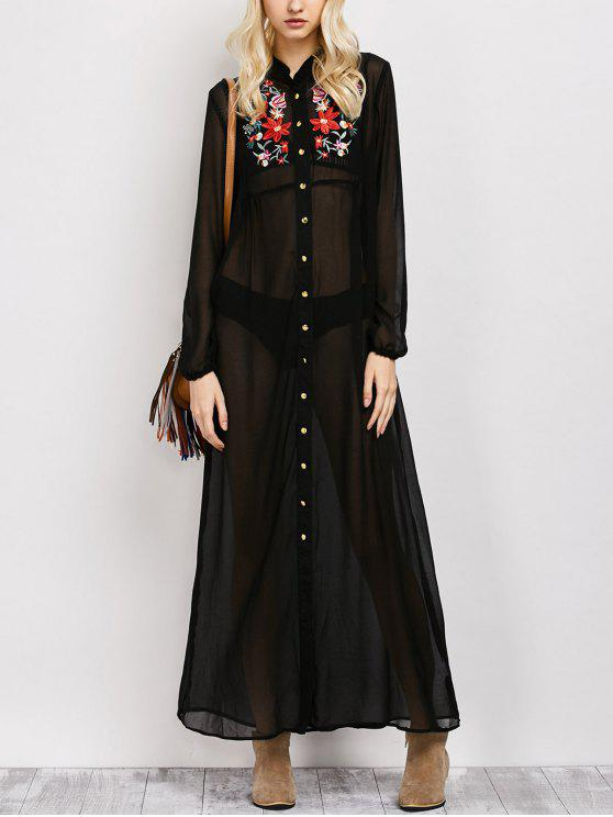 women Embroidered Sheer Maxi Shirt Dress - BLACK S