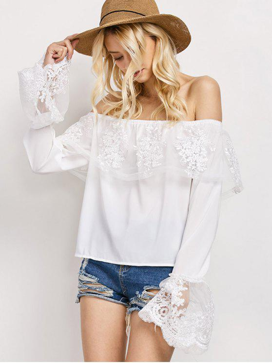 trendy Lace Chiffon Off The Shoulder Top - WHITE S