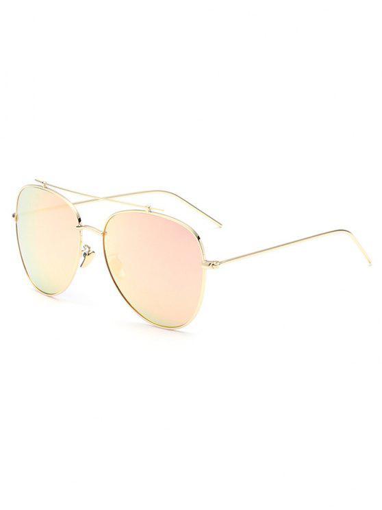 Piloto travesaño espejo gafas de sol - Rosado Claro