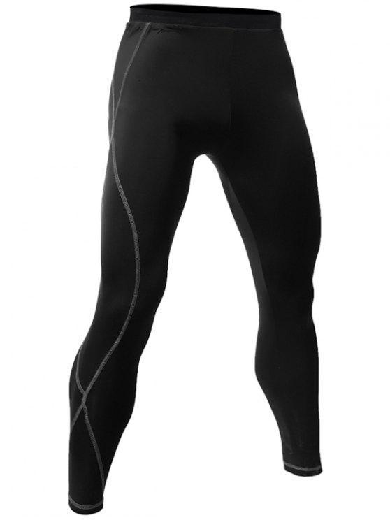 Calça Esporte Fitness Com Costura Seca Rápido - Preto XL