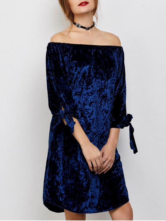 chic Off Shoulder Pleuche Dress - BLUE L