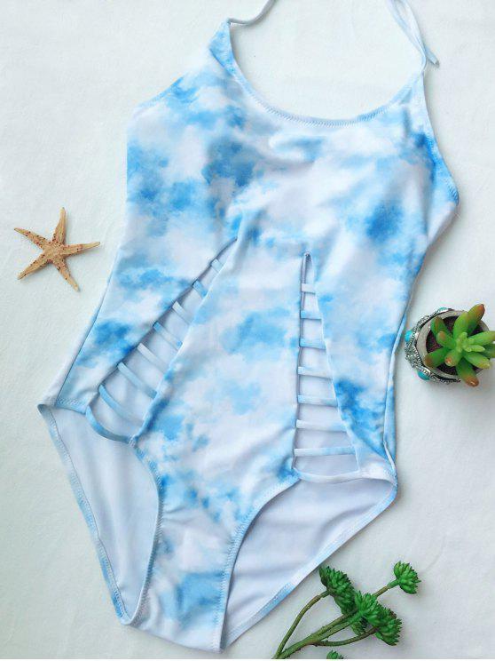 Maillot de bain une pièce tie dye ajouré - Bleu Léger  M