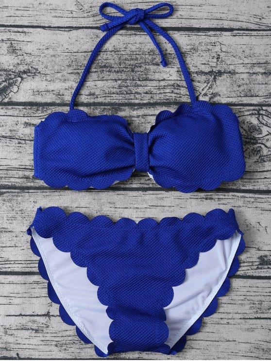sale Three Piece Scalloped Bathing Suit - SAPPHIRE BLUE L