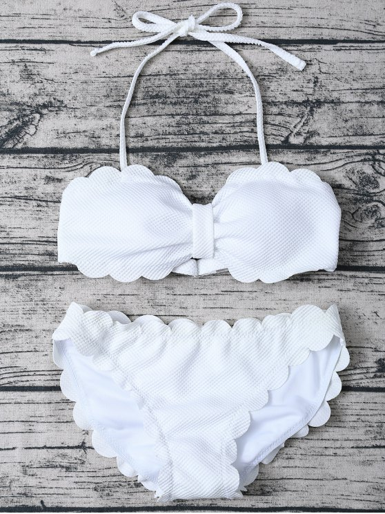online Three Piece Scalloped Bathing Suit - WHITE L