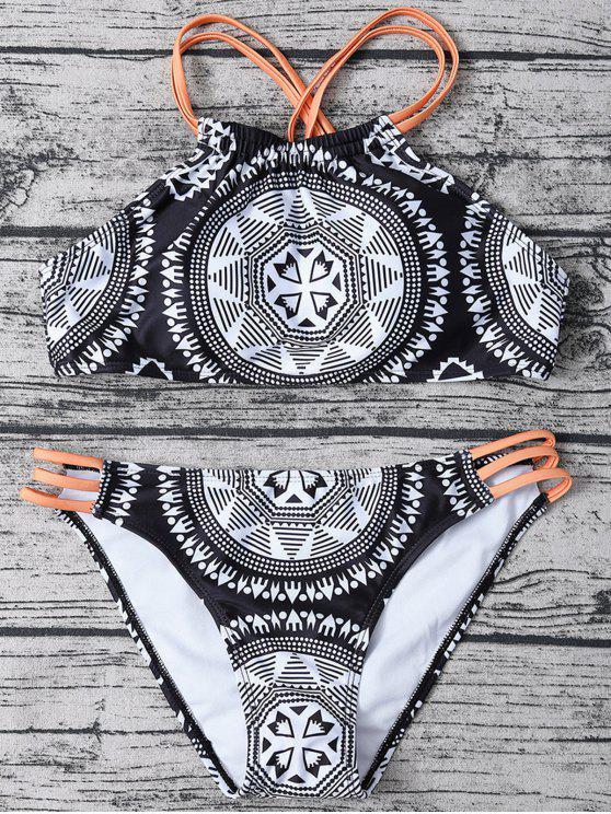 shops Strappy Top Aztec Print High Neck Bikini - WHITE AND BLACK M