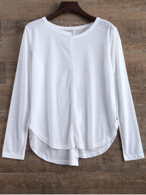Camiseta Ajustada Asimétrica Raja - Blanco S