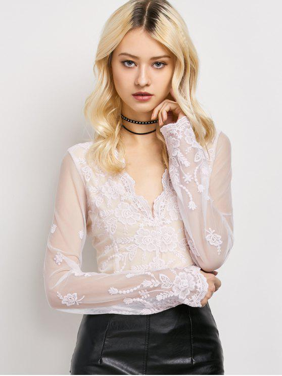 [34% OFF] 2019 Long Sleeve Semi Sheer Lace Top In LIGHT PINK | ZAFUL