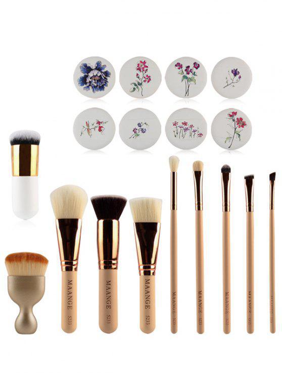 Pincéis de maquiagem + passagens Puffs - Compleição