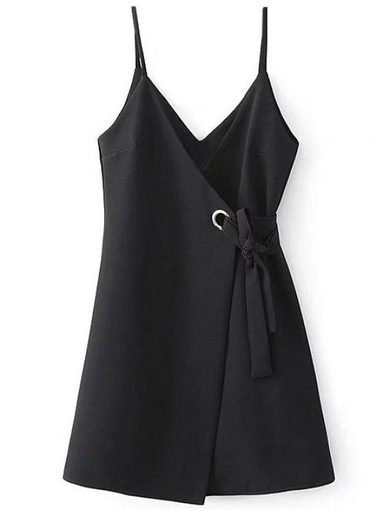 Vestido Suelto Tipo Bata Diseño Línea Vertical - Negro M