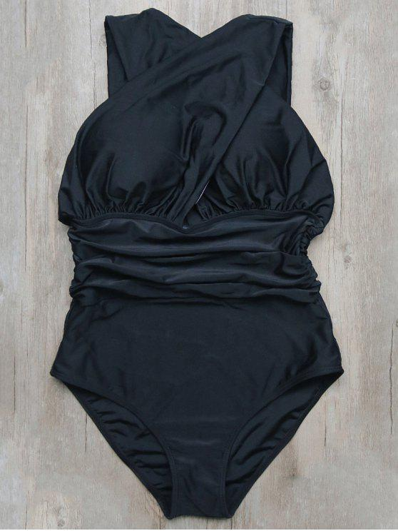 c31c6c1c56 16% OFF] 2019 Ruched Crossover One-Piece Swimwear In BLACK | ZAFUL