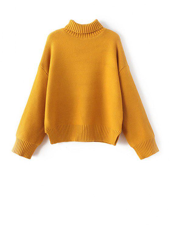 Drop Shoulder Chunky Turtleneck Sweater GOLDEN YELLOW: Sweaters ...