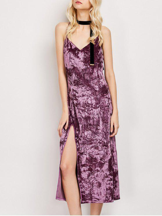 fashion Low Cut Velvet Midi Cami Slip Dress - FUCHSIA ROSE M