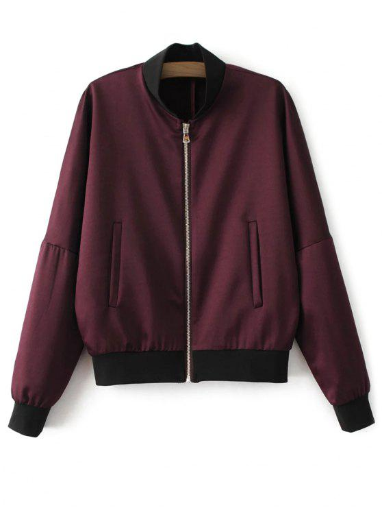 hot Lightweight Zip Bomber Jacket - WINE RED L