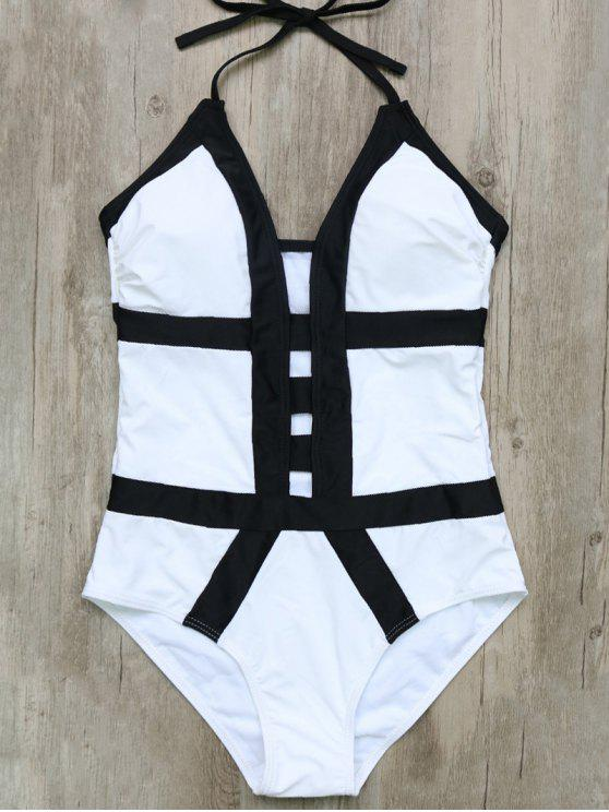 womens Hollow Out Color Block Halter One-Piece Swimwear - WHITE AND BLACK L