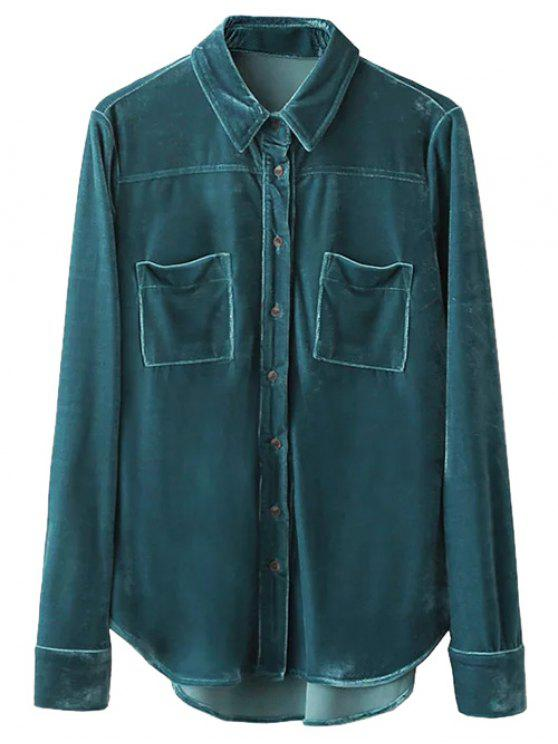 fancy Velvet Patch Pockets Shirt - PEACOCK BLUE L