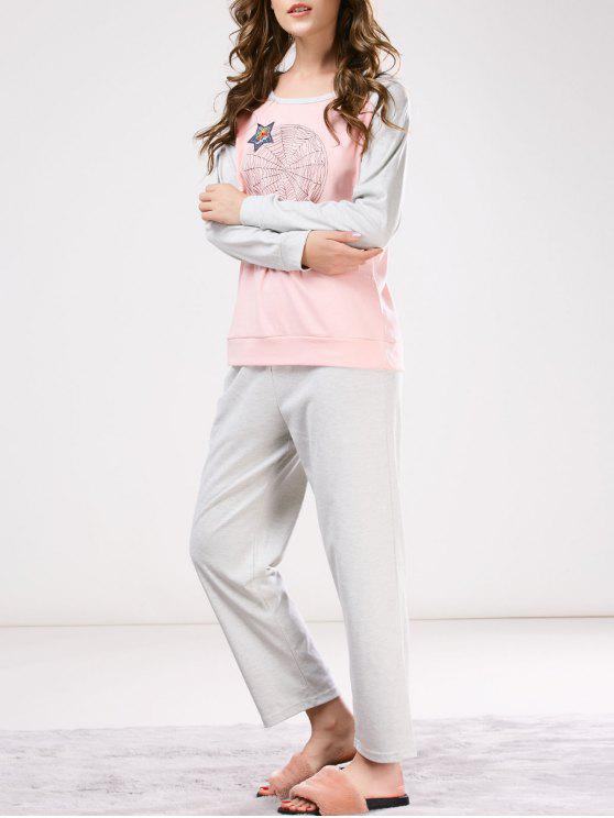 Ropa De Noche Camiseta Estampado Dos Tonos Y Pantalones Conjunto - Rosa y Gris M