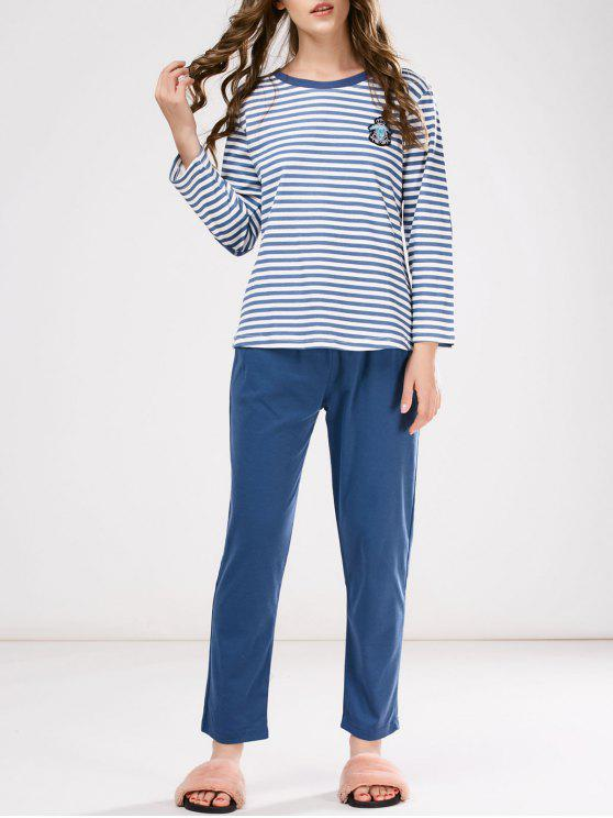 womens Striped Patch Design Tee with Pants Loungewear - BLUE M