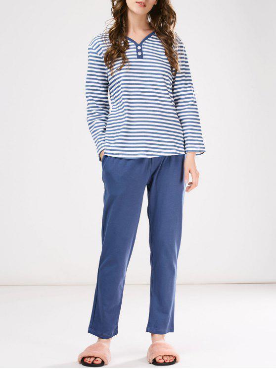 Ropa De Noche Camiseta A Rayas Y Pantalones Conjunto - Azul M