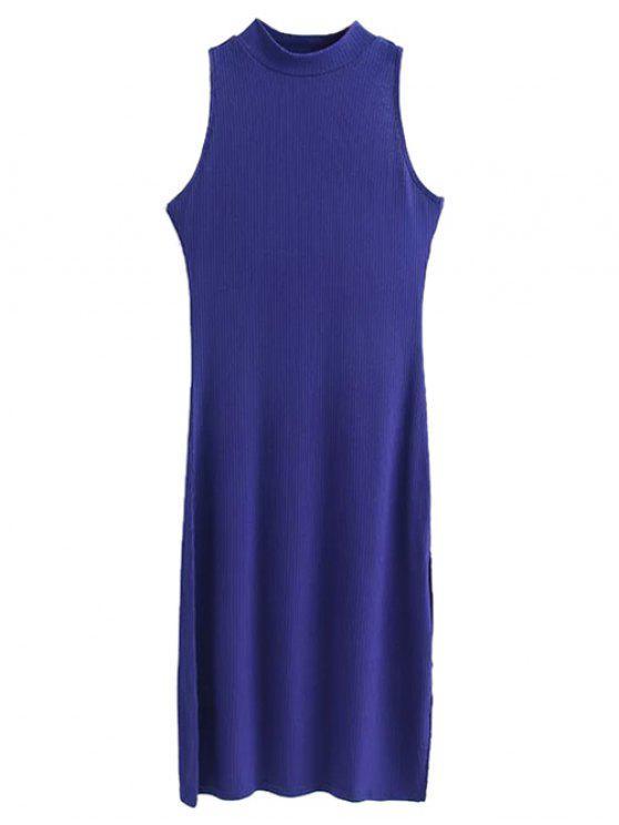 unique Side Slit Sleeveless Mock Neck Dress - SAPPHIRE BLUE S