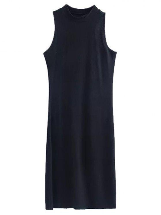 affordable Side Slit Sleeveless Mock Neck Dress - BLACK S