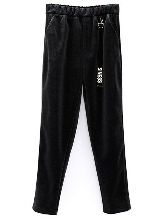 womens Siness Elastic Waist Velvet Pants - BLACK ONE SIZE