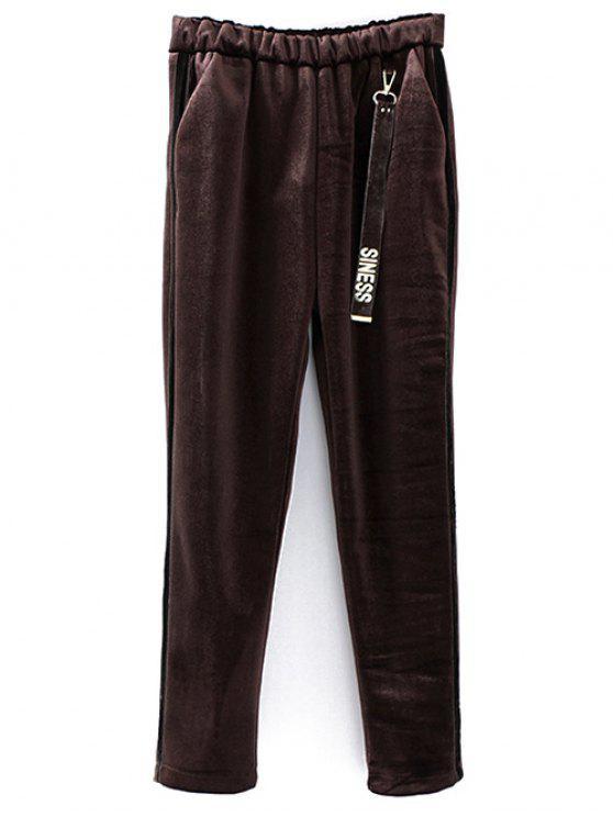 Pantalons taille élastique en velours imprimé siness - Café TAILLE MOYENNE