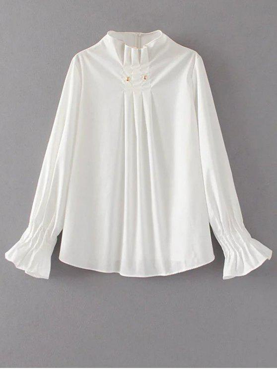 women's Flare Sleeve Draped Pullover Blouse - WHITE S
