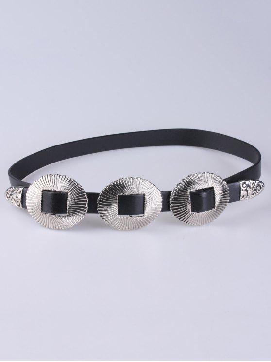 sale Scallop Faux Leather Belt - SILVER