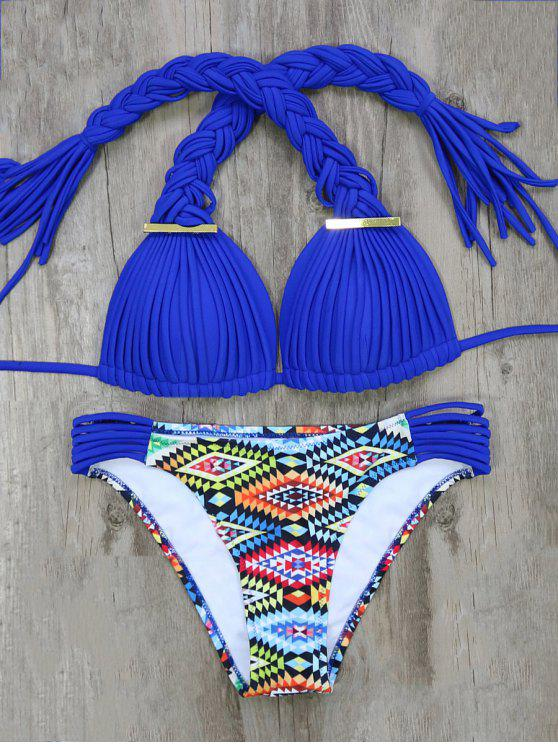 Argyle trenzado Set Bikini - Azul M