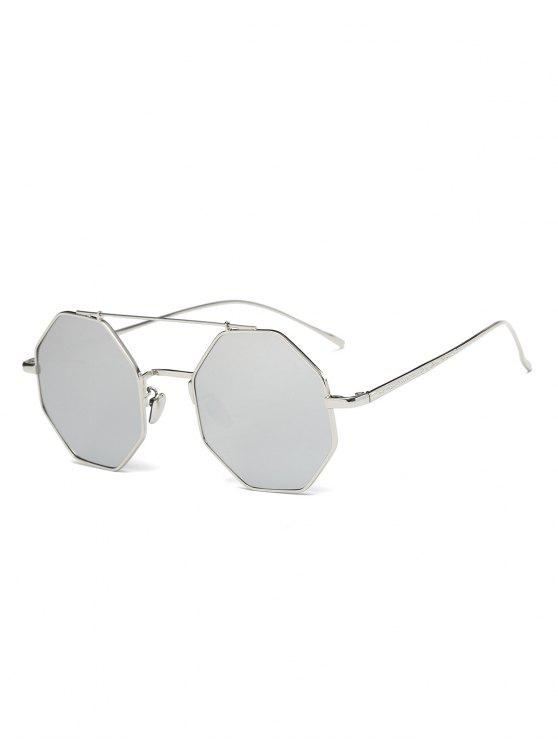 Gafas De Sol Reflejantes Marco Metálico Poligonal - Plata