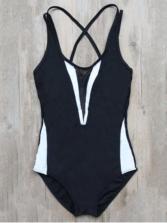fancy Color Block Criss-Cross Swimwear - BLACK M