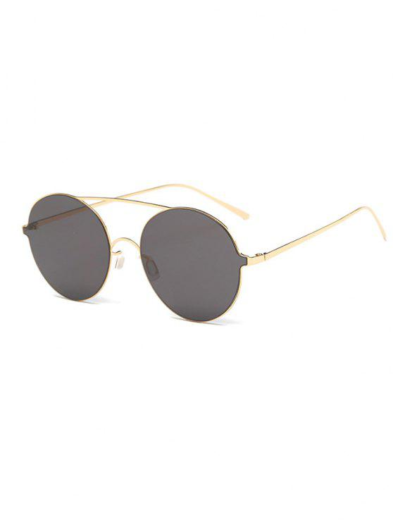 trendy Crossbar Metal Round Sunglasses - GOLDEN