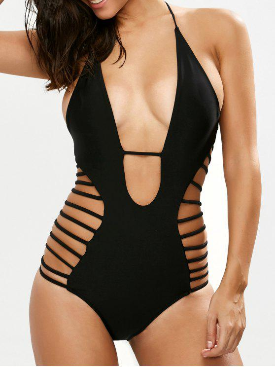 ladies Strappy Plunging Neck Swimsuit - BLACK M