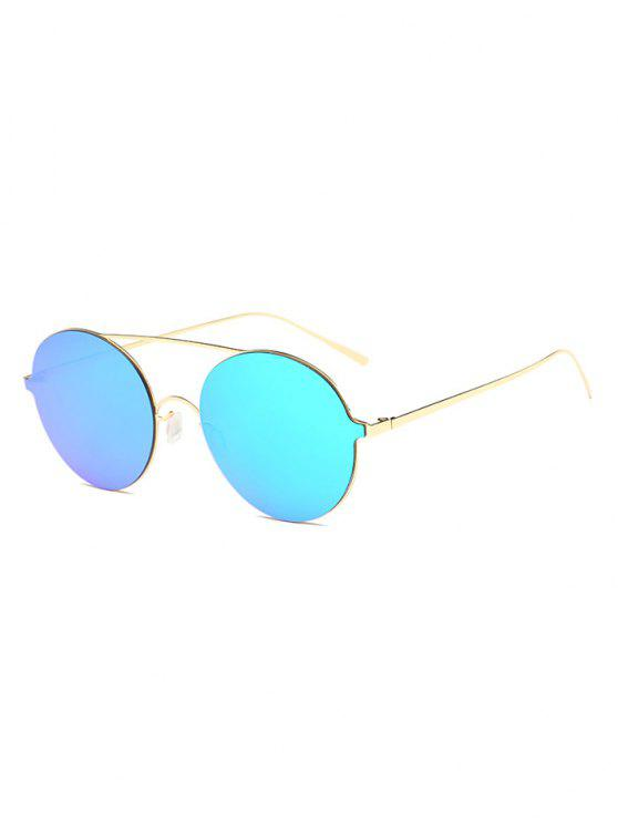 unique Crossbar Metal Round Mirrored Sunglasses - ICE BLUE